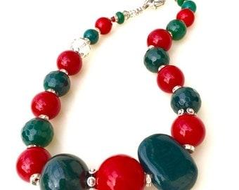 Festive christmas beads nackace