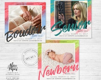 Model call template, Newborn casting, Senior model call, Boudoir model call, Marketing Board for photographers, set of 3, Photoshop, PSD
