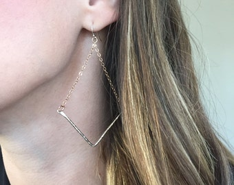 Handmade 14K Rose Gold Earrings with Hammered Sterling Silver Chevron Dangle
