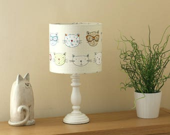 Adorable Cats With Glasses - High Quality Lampshade - Handmade in UK Using Best Fabrics Printed in Britain