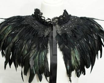 Deep black burlesque feather cape, Cape with black feathers, ready to ship