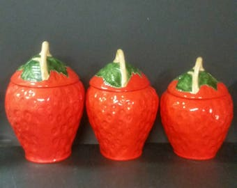 Vintage strawberry canister set. 3 piece