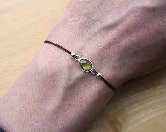 Peridot Bracelet, Gemstone Bracelet, Minimalist Peridot Bracelet, Silk Bracelet, Thin Peridot Bracelet, Stacking Gemstone, Delicate Gemstone