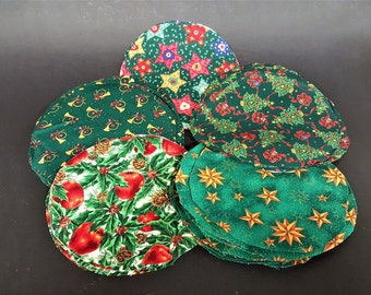 Christmas Craft Supply Cotton Fabric Precut Rounds Green Gold Red Colors for Jar Top Covers Quilt Pieces Scrap Crafting Unwashed