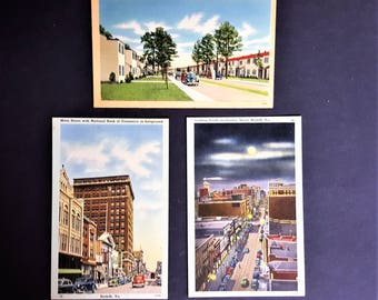 Norfolk VA Vintage Post Cards Cityscapes and Military Housing from 1940 Navy Military Post Card Tichnor Bros Boston Mass Reg. U.S. Pat. Off.