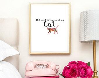 cat lover gift, animal prints, cat lady gift, gift for her, cat lady, print, cat lovers gifts, funny wall art gift for cat lover,