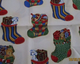 Christmas fabric with xmas stocking print