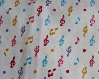 Music note fabric White with coloured music notes