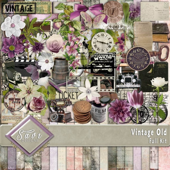 Digital Scrapbooking Kit, VINTAGE OLD, phones, cars, postcards, pamphlets, clocks, and other vintage items and lots of lovely flowers