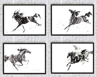 Horse print art wall art decor painting print room decor black and white poster animals nature illustrations printable 5 x 7 8 x 12 mustang