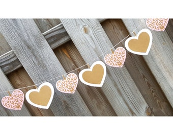 Rustic Lace Hearts Garland, Kraft, Pink & White Hearts, Rustic Wedding Decoration, Rustic Pink Lace Bridal, Baby Shower Decoration