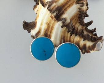 Turquoise stud earrings/round earrings/disk studs/ turquoise studs/blue stud earrings/turquoise earrings/Sterling silver/healing/luck