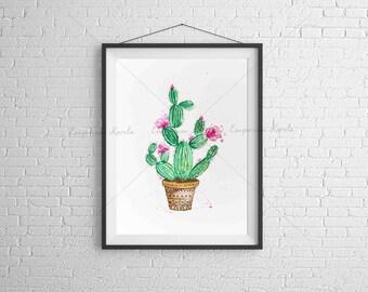 Watercolor - PRINTABLE - Cactus - Handmade