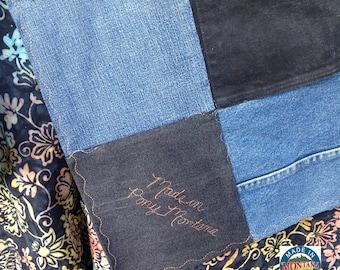 "Upcycled Blue Jean Quilt Denim Blanket Throw Handmade 86"" x 72"" Made in Pony, Montana Batik Backing"