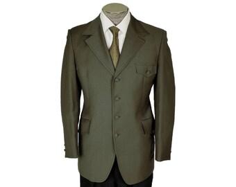 Vintage 70s Mens Mod Blazer Jacket - Olive Green Wool - Size M
