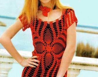 Women red dress crochet / custom