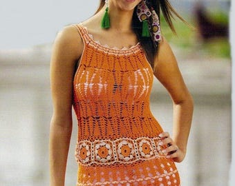 Ladies summer tunic in orange crochet / custom