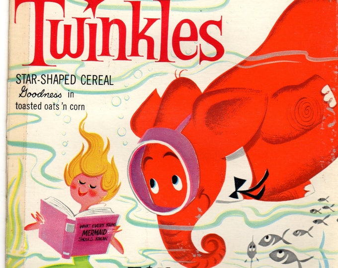 1960's Twinkles General Mills Cereal Box Book Twinkles and the School Below Sea