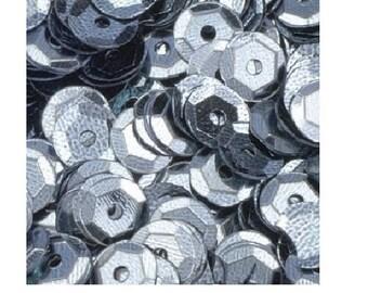 500 round sequins bulging grey - glitter grey - Sequins round - 1026786