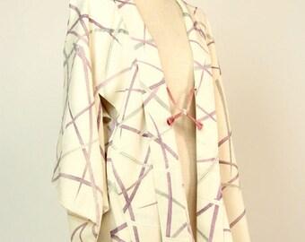 "Japanese M32804 ""Shibakusa"" Yuzenzome Haori Kimono Jacket Vintage"