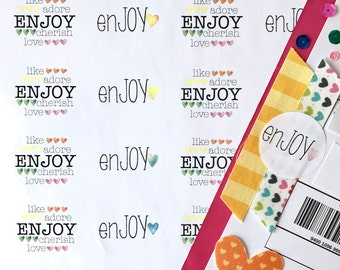 ENJOY Heart RAINBOW Stickers - Shipping/ Packaging Round