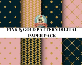 Pink and Gold Pattern Paper Pack | 12 x 12 inch | 8 Sheets | High-Resolution 300 dpi | Instant Download