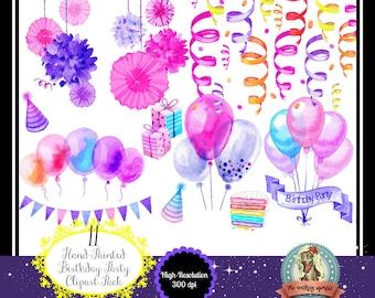 11 Watercolor Birthday Party Clip Art, Watercolor Clip Art, Watercolor Clipart, Pink and Purple, Instant Download, Digital Download