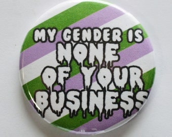 """My Gender Is None Of Your Business 1.5"""" Pinback Button"""