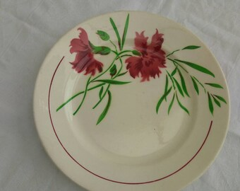 Vintage French stencilled plate, Carnations design 'Nice' by Badonviller.