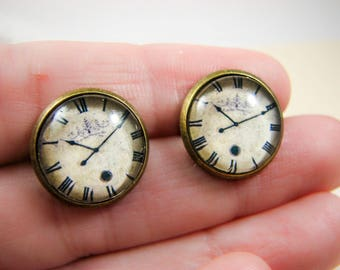 Vintage clock earrings, Post earrings, Clock earring studs, Watch earrings, Old clock, Casual jewelry, Everyday earrings, Brass earrings