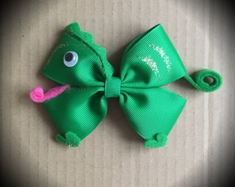 Tangled Pascal Green Disney Hair Bow