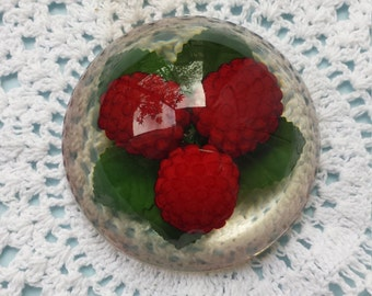 Vintage Dome Raspberry Leaves Lucite Paperweight Collectible
