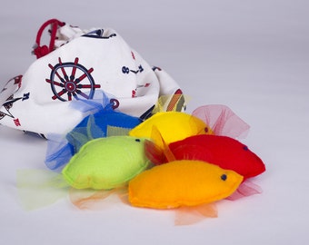 5 soft colourful fish in a bag