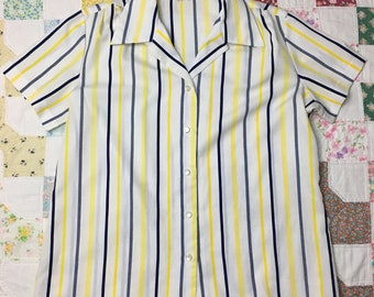 Vintage Womens 20 Blue Yellow Striped Button Up Blouse Top Pussybow Scarf