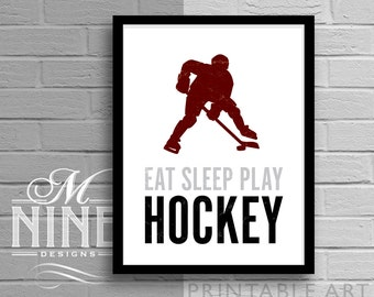 "Sports Printable Art ""Eat Sleep Play Hockey"" - Silhouette Frame Art Motivational Print, Inspirational Quote, Sports Décor, Wall Décor 93S"