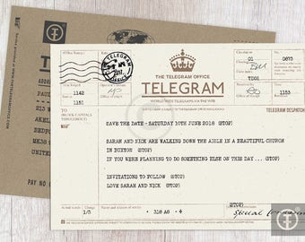 Personalised Telegram Wedding Invitation Save The Date Greetings Birthday