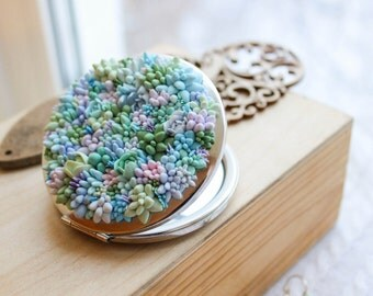 succulents mirror, pocket mirror, gift, succulents, polymer clay, accessories with succulents