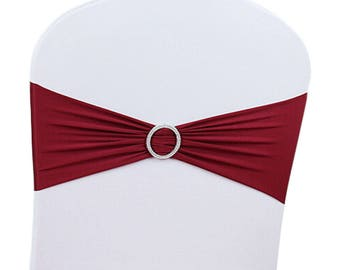 Burgundy Elasticity Stretch Chair cover Band with Buckle Slider Sashes Bow Decor