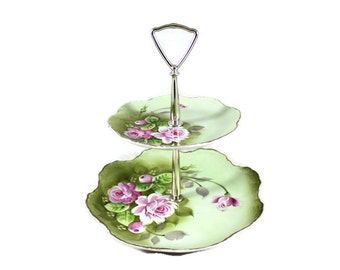 Vintage Tiered Stand, Lefton, Mid Century Two-tier Tidbit Tray, Heritage Rose Green Pattern, vintage from early 1950s