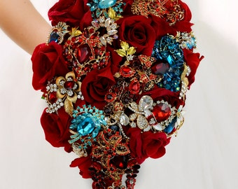 Roses Wedding Bouquet Brooch Bouquet Red Wedding Bouquet Crystal Wedding Bridal Bouquet Gold Jewellery Wedding Bouquet Turquoise Bouquet