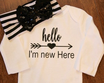 Hello I'm New Here, Hello, I'm New Here Baby One Piece, New Baby One piece,  New Baby Gift, New Baby, Hello I'm New Here, I'm New Here Baby