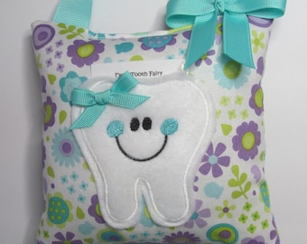 Tooth Fairy Pillow Purple and Aqua Flowers Ready to Ship