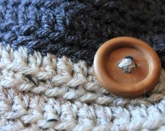 Crocheted Baby Toddler Toboggan, Handmade Grey & Natural with natural wood button