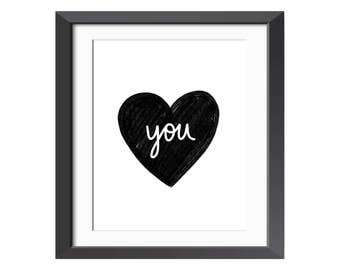 You in my Heart - Art - Illustration - Instant Download - Printable