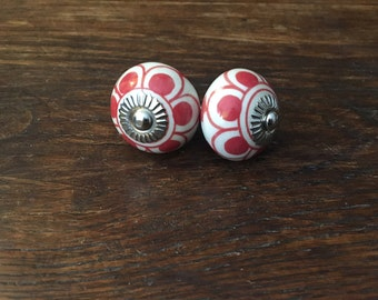 Red and White Ceramic Round Knobs Anthropologie-style (Set of 2)
