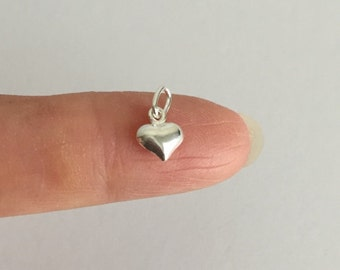 TINY Sterling Silver Puff Heart Charm. 925 Sterling Silver Heart. Small Puffy Heart Charm. Handmade Jewelry Supplies. Handcrafted Supplies.