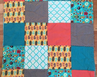 small blanket cover quilt patchwork bird feather
