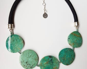 Natural chrysocolla statement necklace, black rope and sterling silver