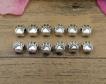 12 Bear Feet Charms,Spacer Beads,Antique Silver Tone,3D Charms-RS540