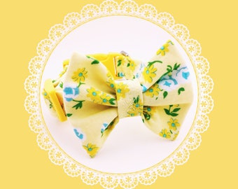 Yellow Rose & Daisy Flowers w/ Bow Dog or Puppy Collar